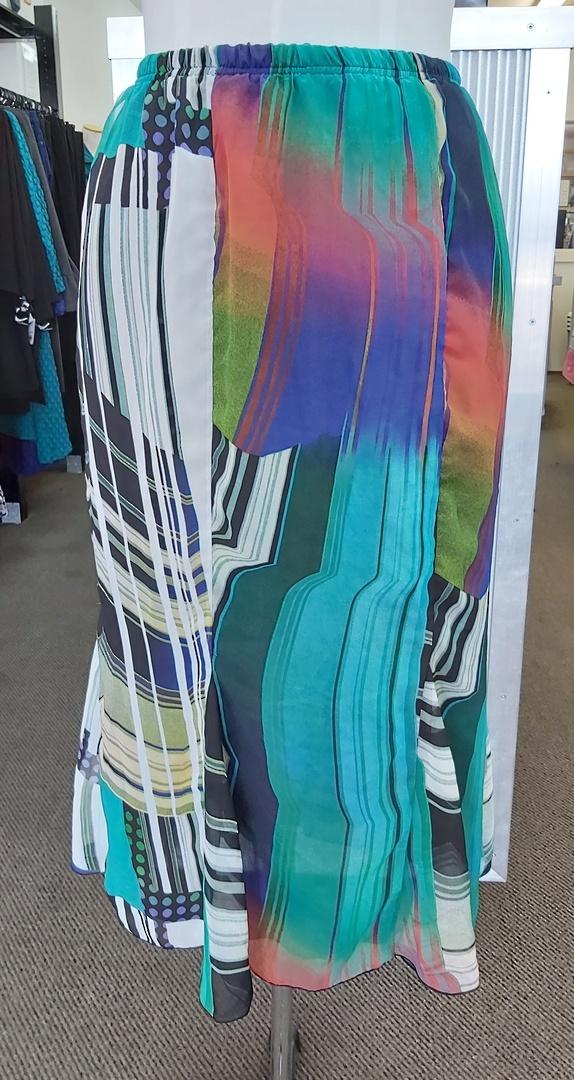 Cashews Teal Print Godet Skirt image 0