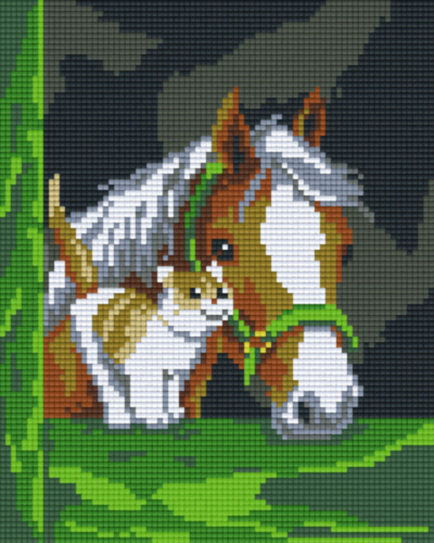 Horse And Cat Four [4] Baseplate PixelHobby Mini-mosaic Art Kits image 0