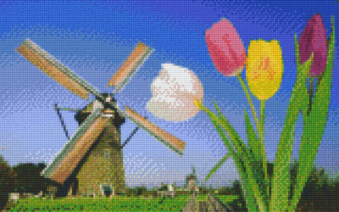 Windmill Eight [8] Baseplate PixelHobby Mini-mosaic Art Kits image 0