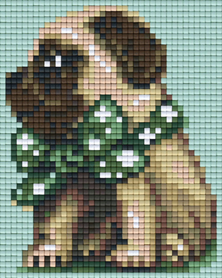 Green Bow Pug One [1] Baseplate PixelHobby Mini-mosaic Art Kits image 0