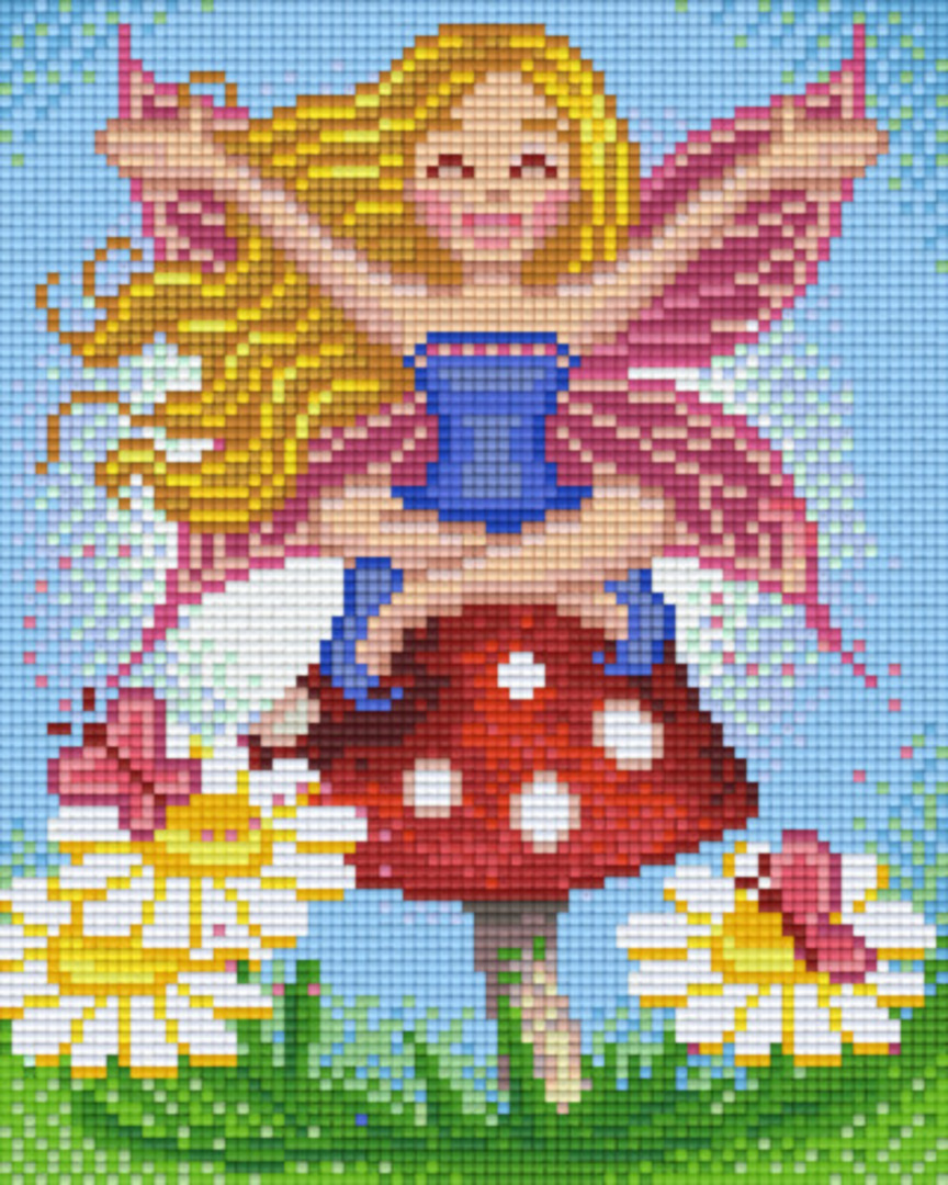 Fairy Sitting On Mushroom Four [4] Baseplate PixelHobby Mini-mosaic Art Kits image 0