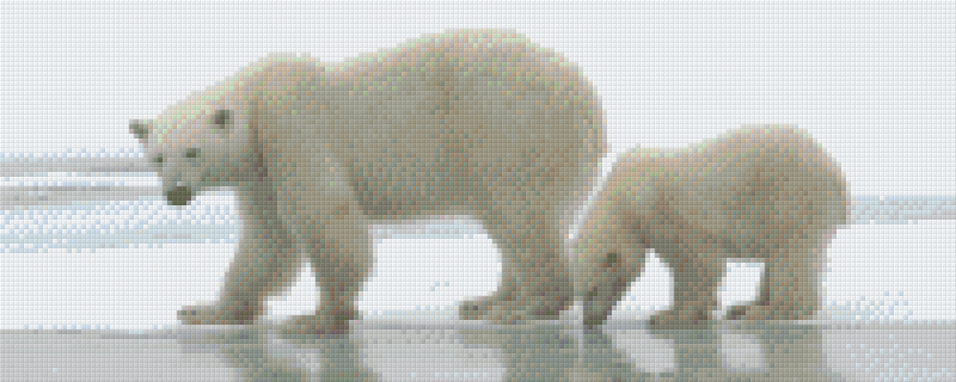 Polar Bear And Cub Eight [8] Baseplate PixelHobby Mini-mosaic Art Kits image 0