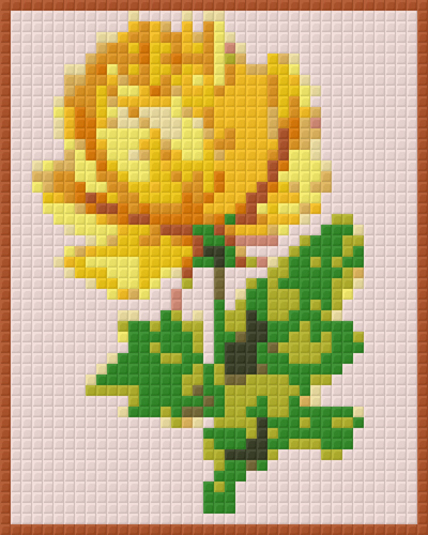 Yellow Rose One [1] Baseplate PixelHobby Mini-mosaic Art Kits image 0