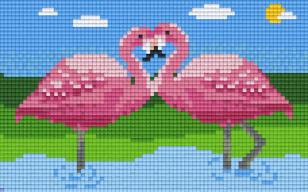 Flamingos Two [2] Baseplate PixelHobby Mini-mosaic Art Kits image 0