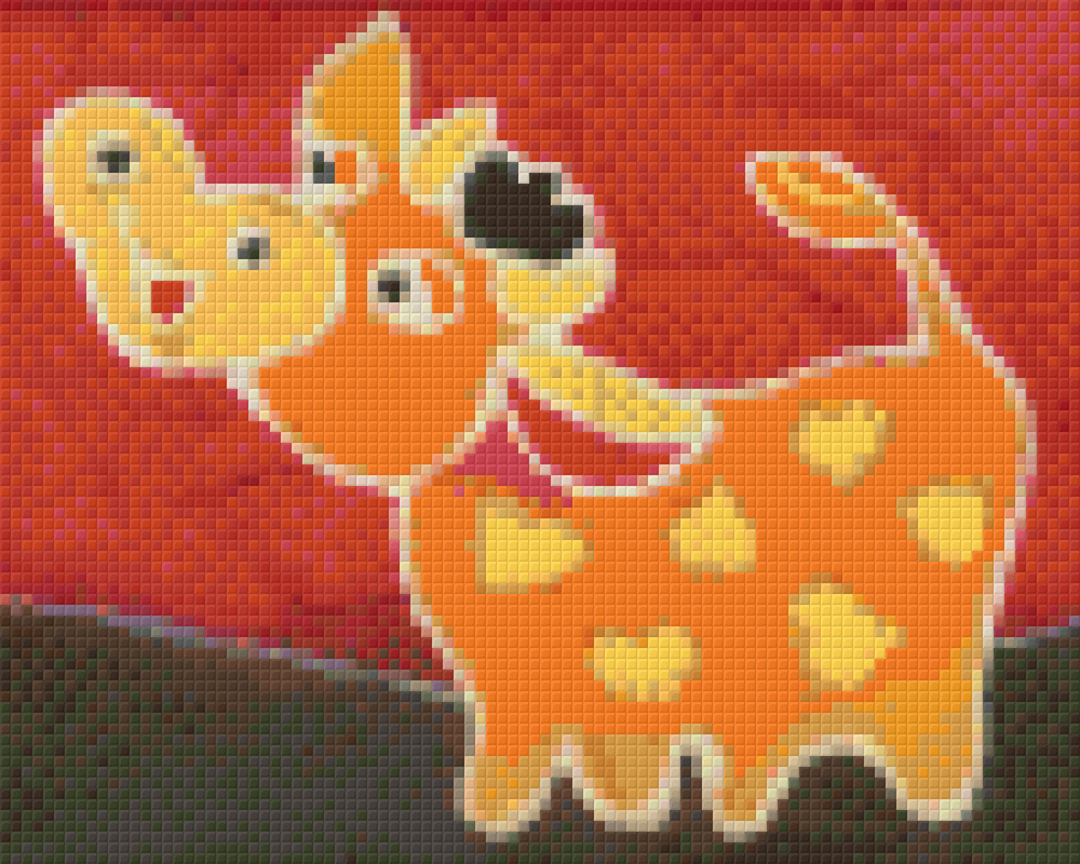Orange Cow Four [4] Baseplate PixelHobby Mini-mosaic Art Kits image 0
