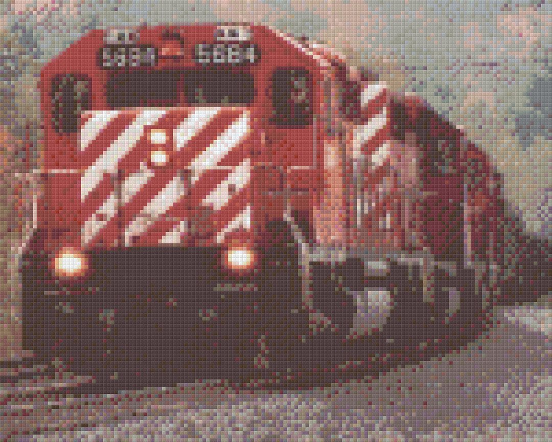 Red And White Train Nine [9] Baseplate PixelHobby Mini-mosaic Art Kits image 0