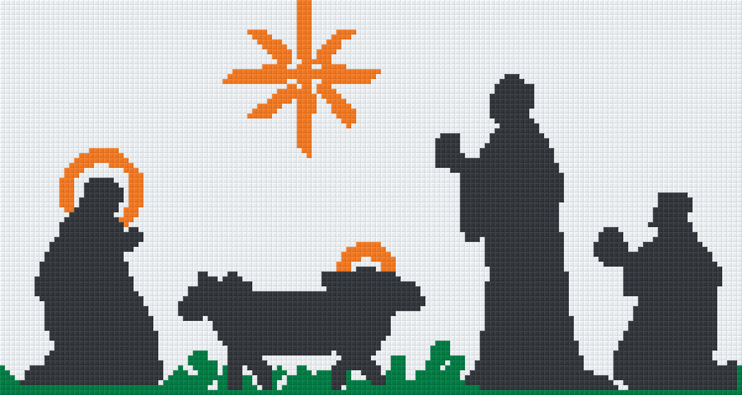 Nativity Silhouette Six [6] Baseplate PixelHobby Mini-mosaic Art Kits image 0