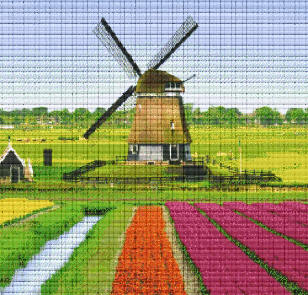 Windmill Thirty [30] Baseplate PixelHobby Mini-mosaic Art Kits image 0