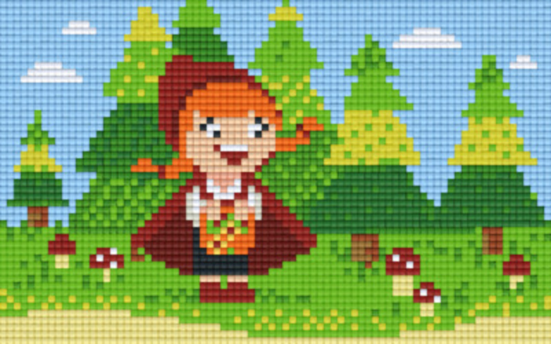 Red Riding Hood In Forest Two [2] Baseplate PixelHobby Mini-mosaic Art Kits image 0
