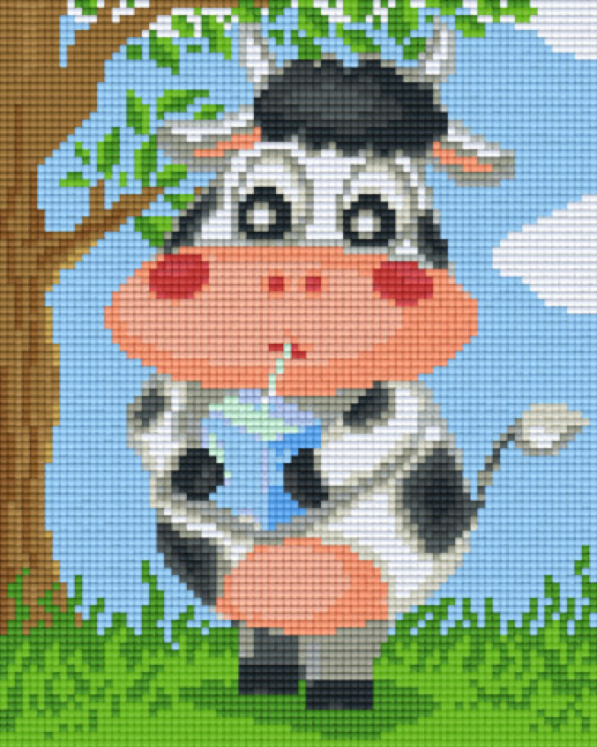 Cow Drinking Milk Four [4] Baseplate PixelHobby Mini-mosaic Art Kits image 0