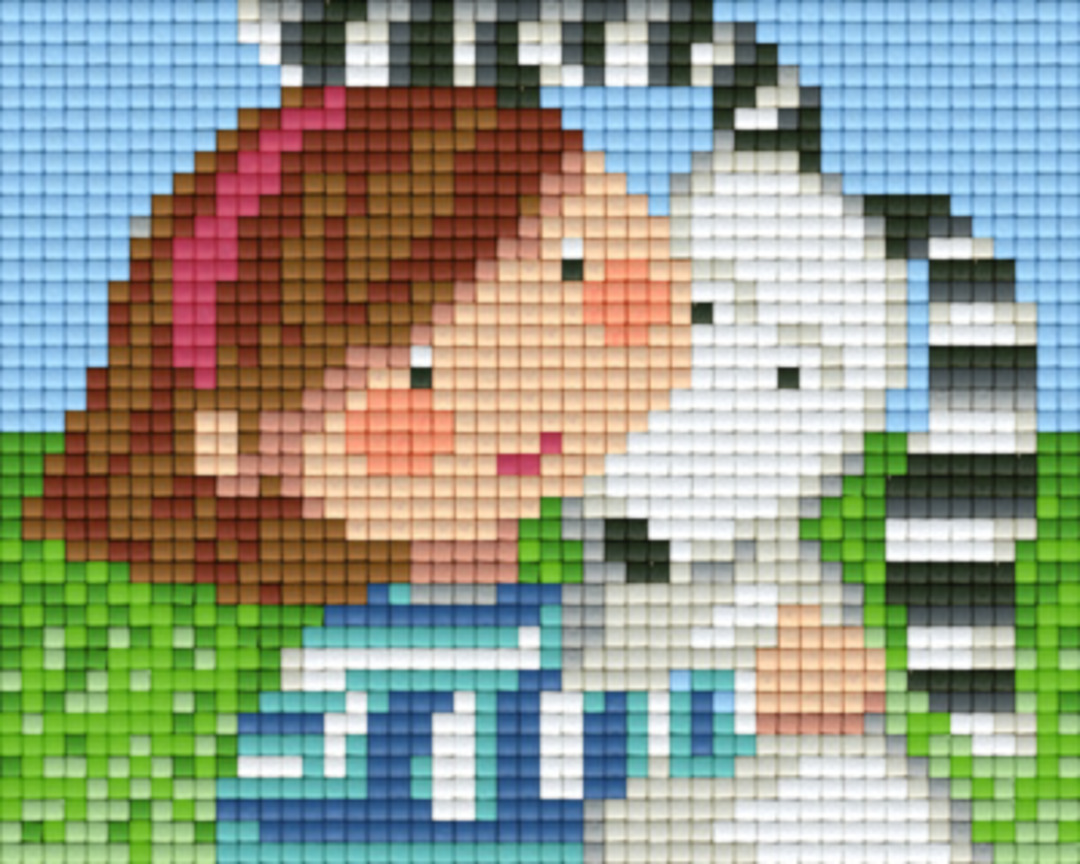 Dog With Owner One [1] Baseplate PixelHobby Mini-mosaic Art Kits image 0