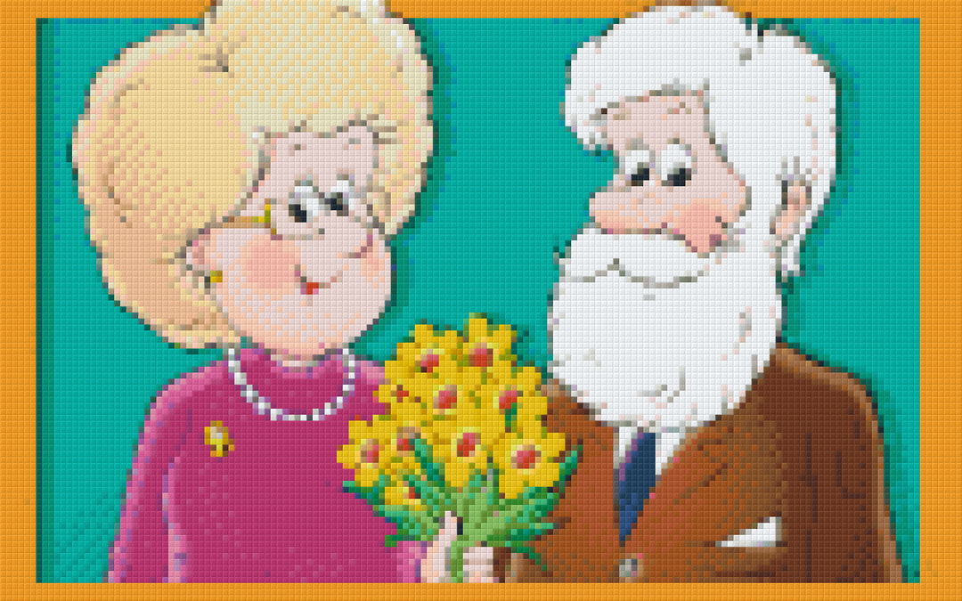 Grandma And Grandpa Eight [8] Baseplate PixelHobby Mini-mosaic Art Kits image 0