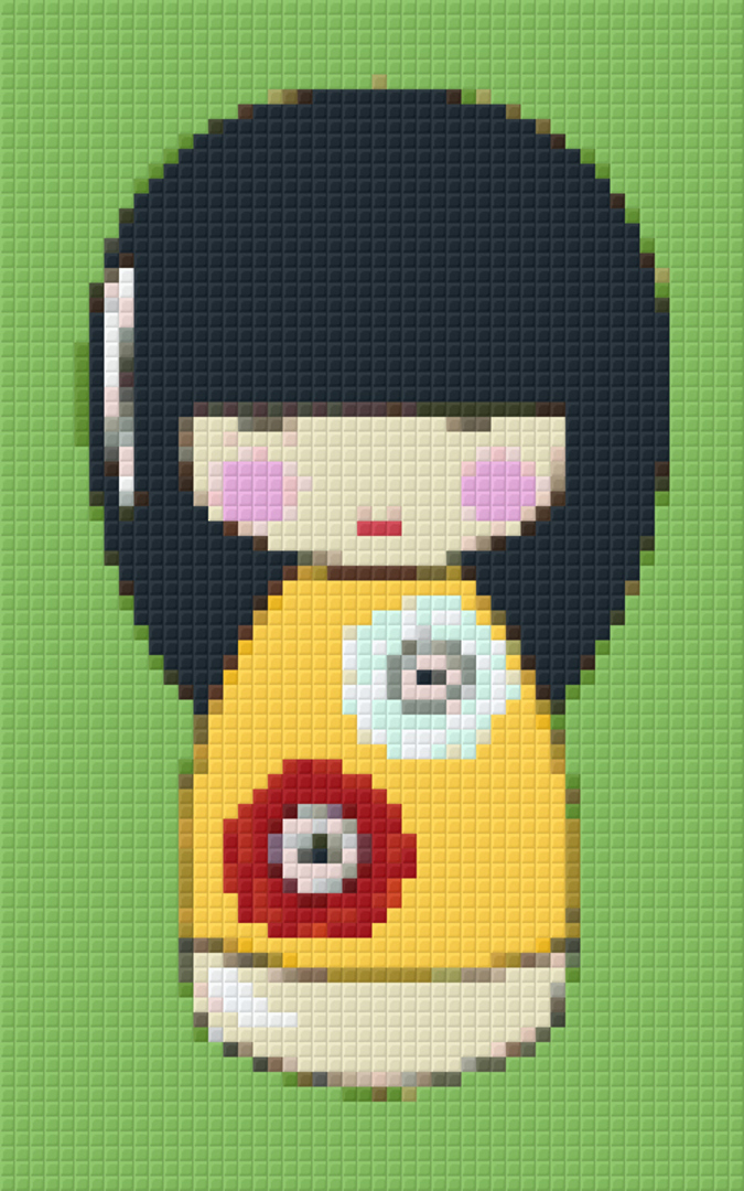 Yellow Japanese Doll Two [2] Baseplate PixelHobby Mini-mosaic Art Kit image 0
