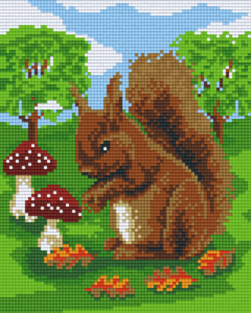 Squirrel With Mushroom Four [4] Baseplate PixelHobby Mini-mosaic Art Kits image 0