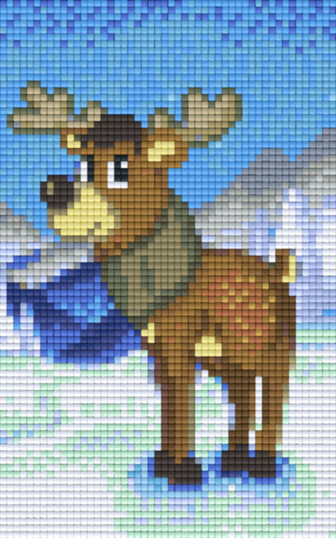 Moose Two [2] Baseplate PixelHobby Mini-mosaic Art Kit image 0