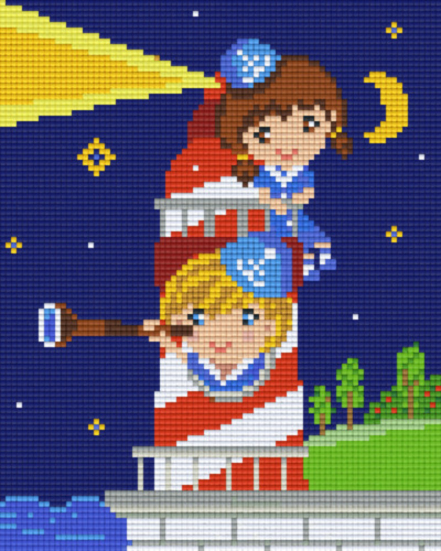 Little Girls In The Lighthouse Four [4] Baseplate PixelHobby Mini-mosaic Art Kits image 0