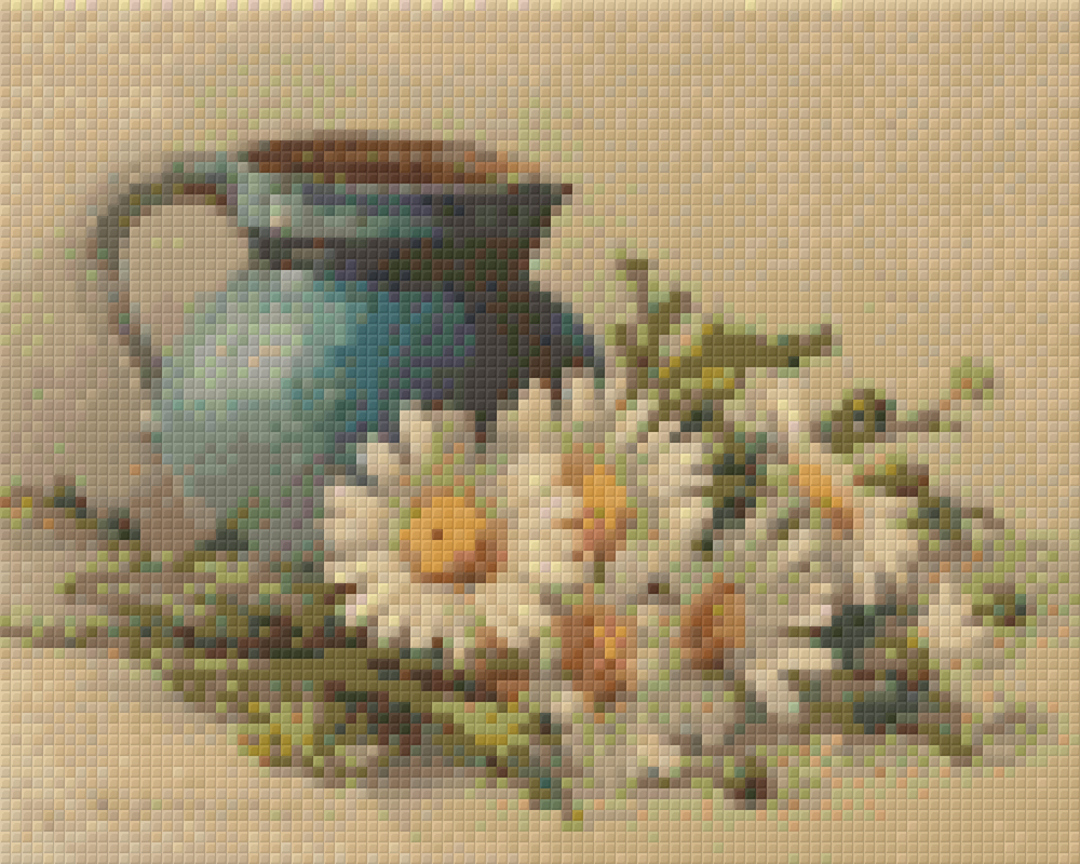 Blue Can With Daisies Four [4] Baseplate PixelHobby Mini-mosaic Art Kits image 0