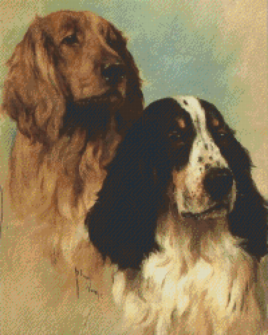 English Spinger Spaniels At Rest Twenty-Five [25] Baseplate PixelHobby Mini-mosaic Art Kits image 0