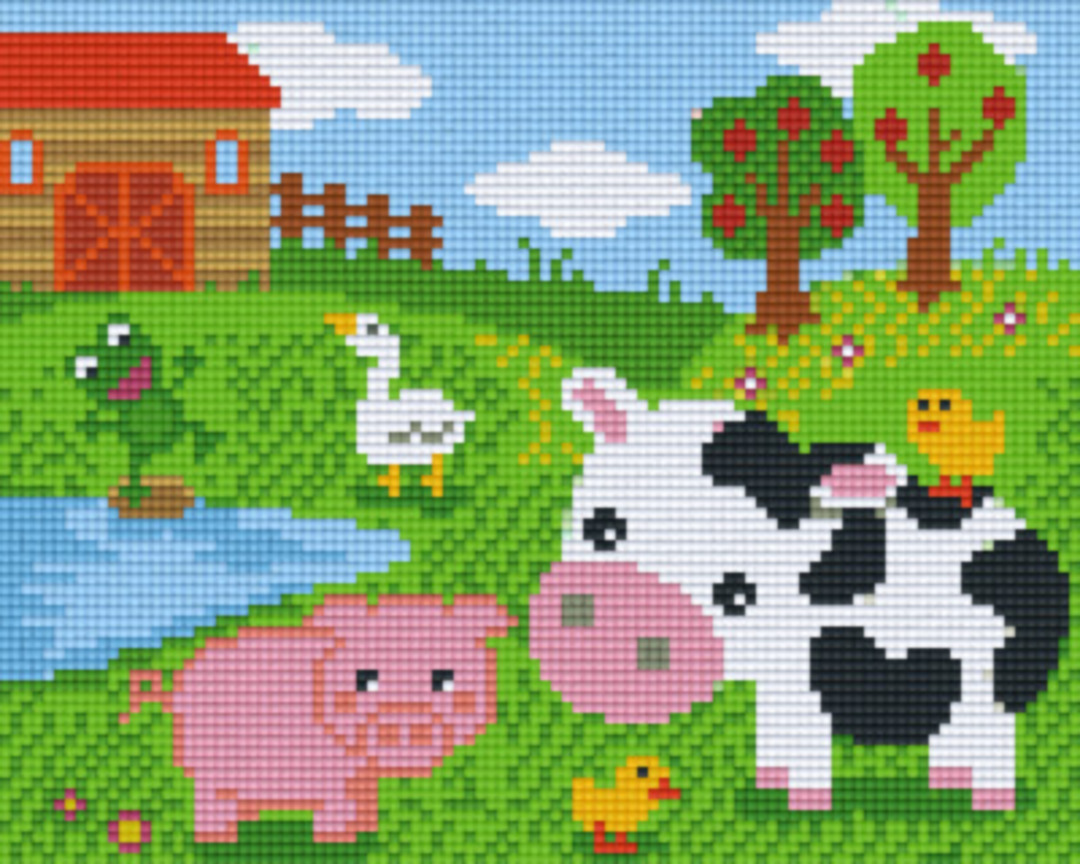 Farmyard Animals Four [4] Baseplatge PixelHobby Mini-mosaic Art Kits image 0
