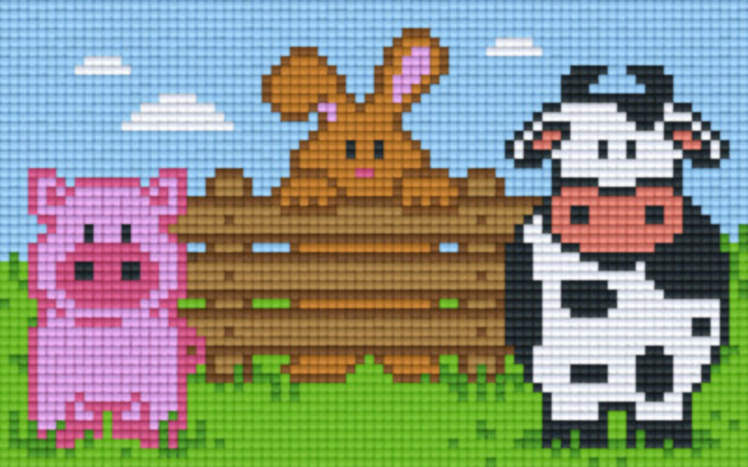 Farm Animals Two [2] Baseplate PixelHobby Mini-mosaic Art Kits image 0