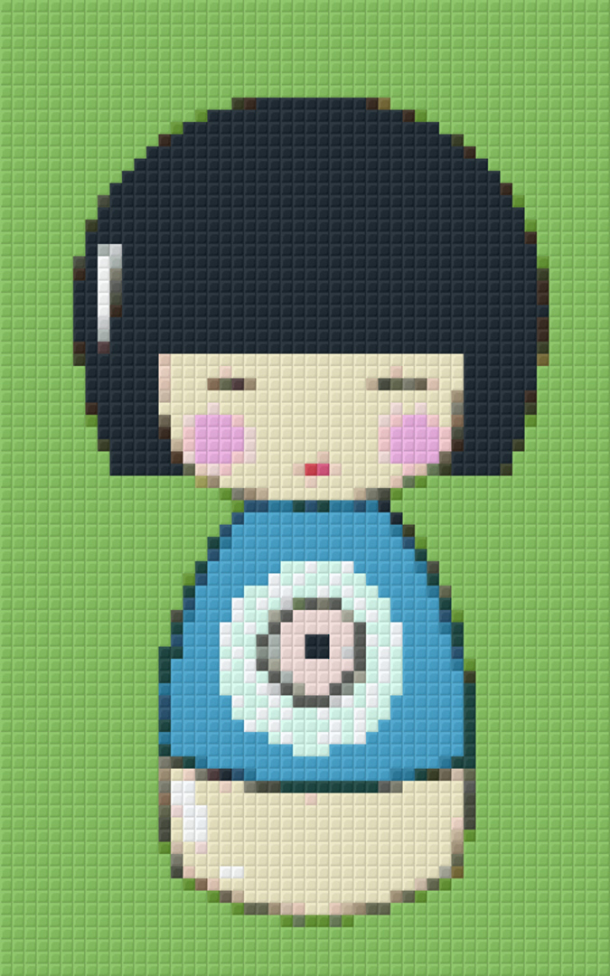 Blue Japanese Doll Two [2] Baseplate PixelHobby Mini-mosaic Art Kit image 0