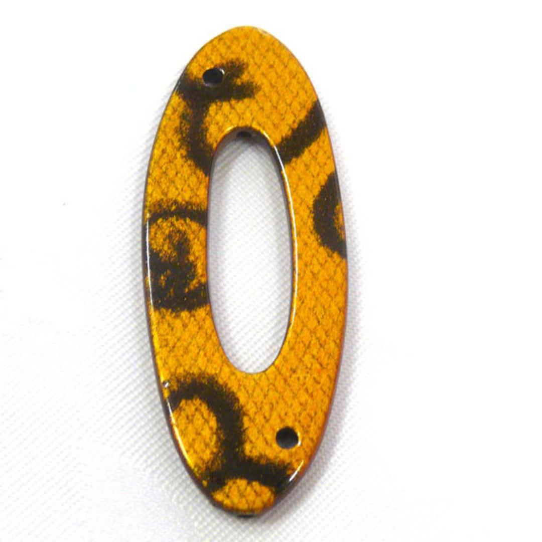 Acrylic Donut Style Piece, yellow oval, snake like markings image 0