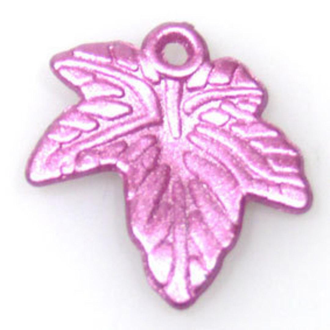 Acrylic Autumn Leaf, 20mm - Metallic pink image 0