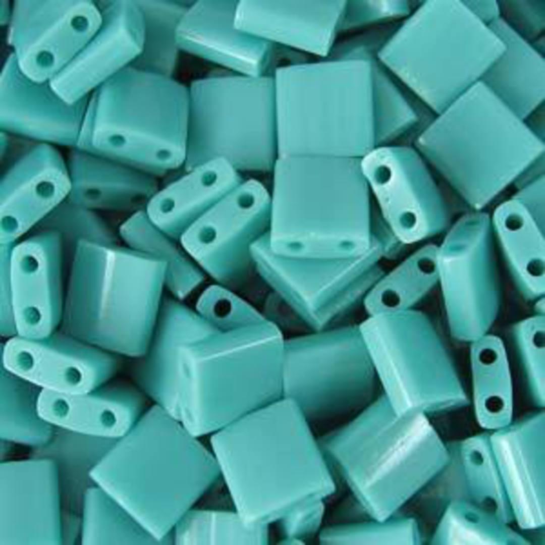 Tila Bead, 5mm, Opaque Turquoise Green image 0