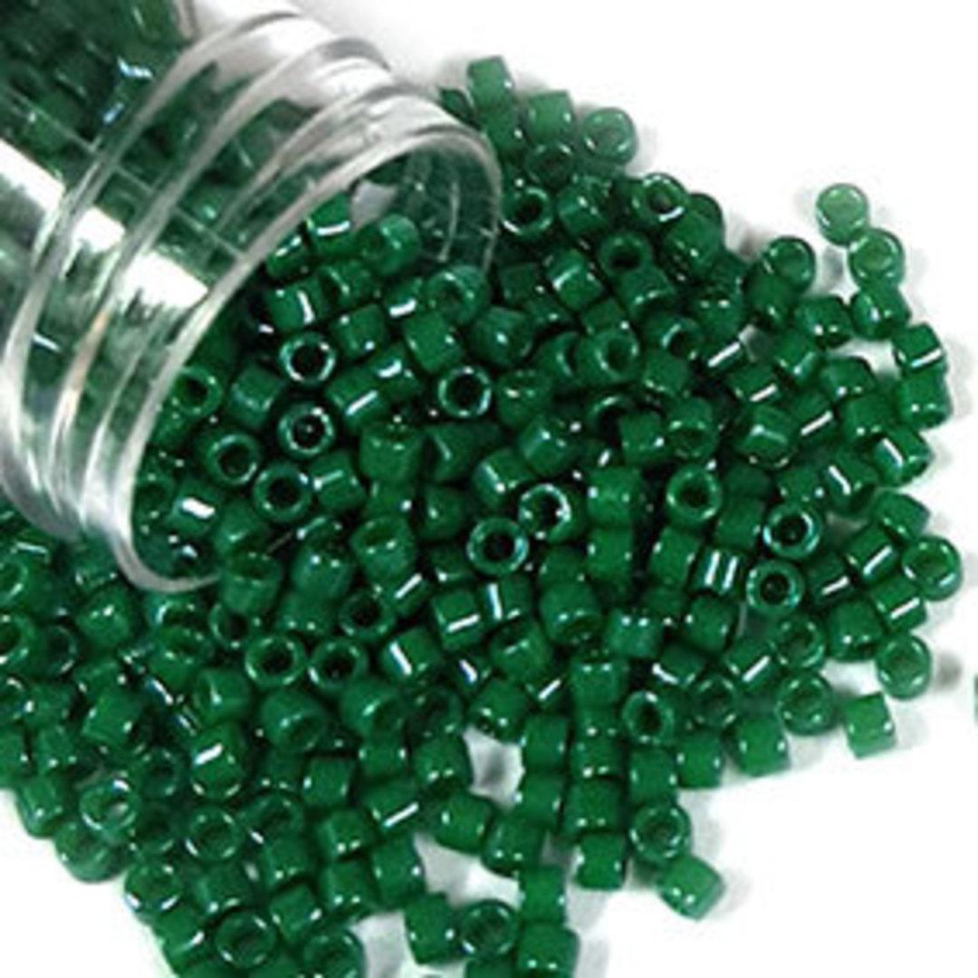 11/0 Miyuki Delica, colour 656 - Dyed Opaque Jade Green Sheen image 0