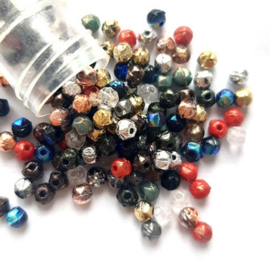 NEW! 3mm English Cut Glass Facet Mix: Metals image 0