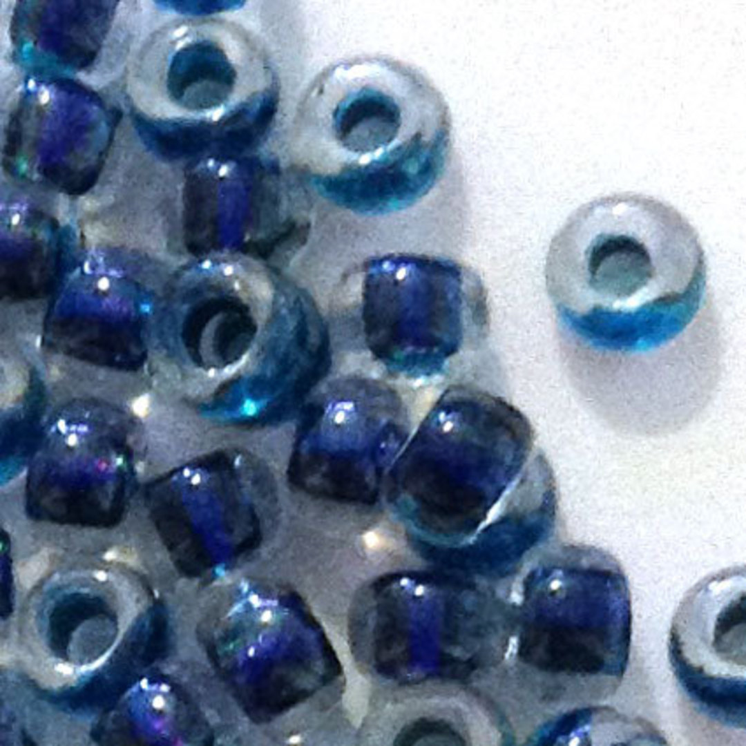Miyuki size 8 round: 756 - Clear/Dark Blue Shimmer, colour lined image 1