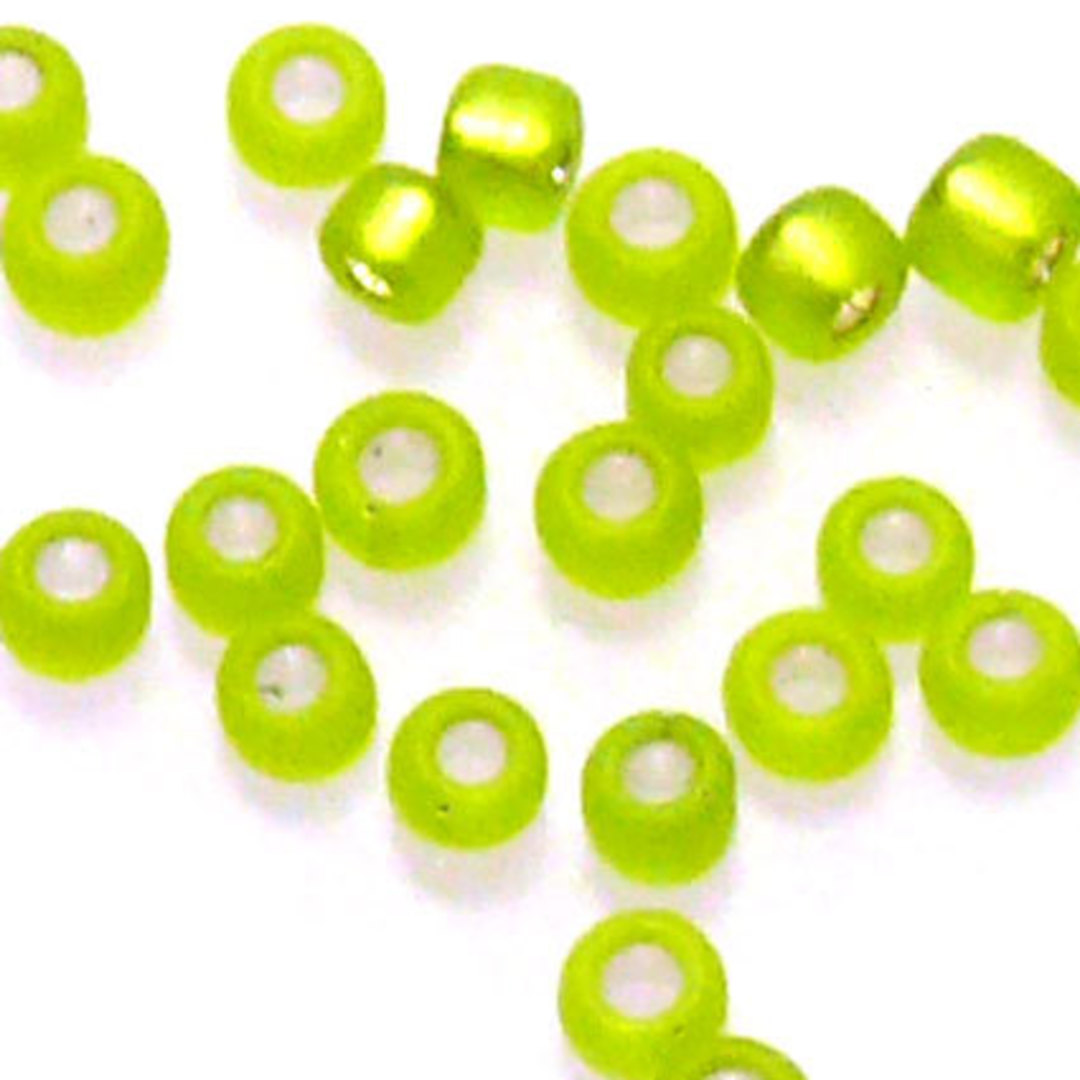 Matsuno size 11 round: F14 - Frosted Lime, silver lined image 0