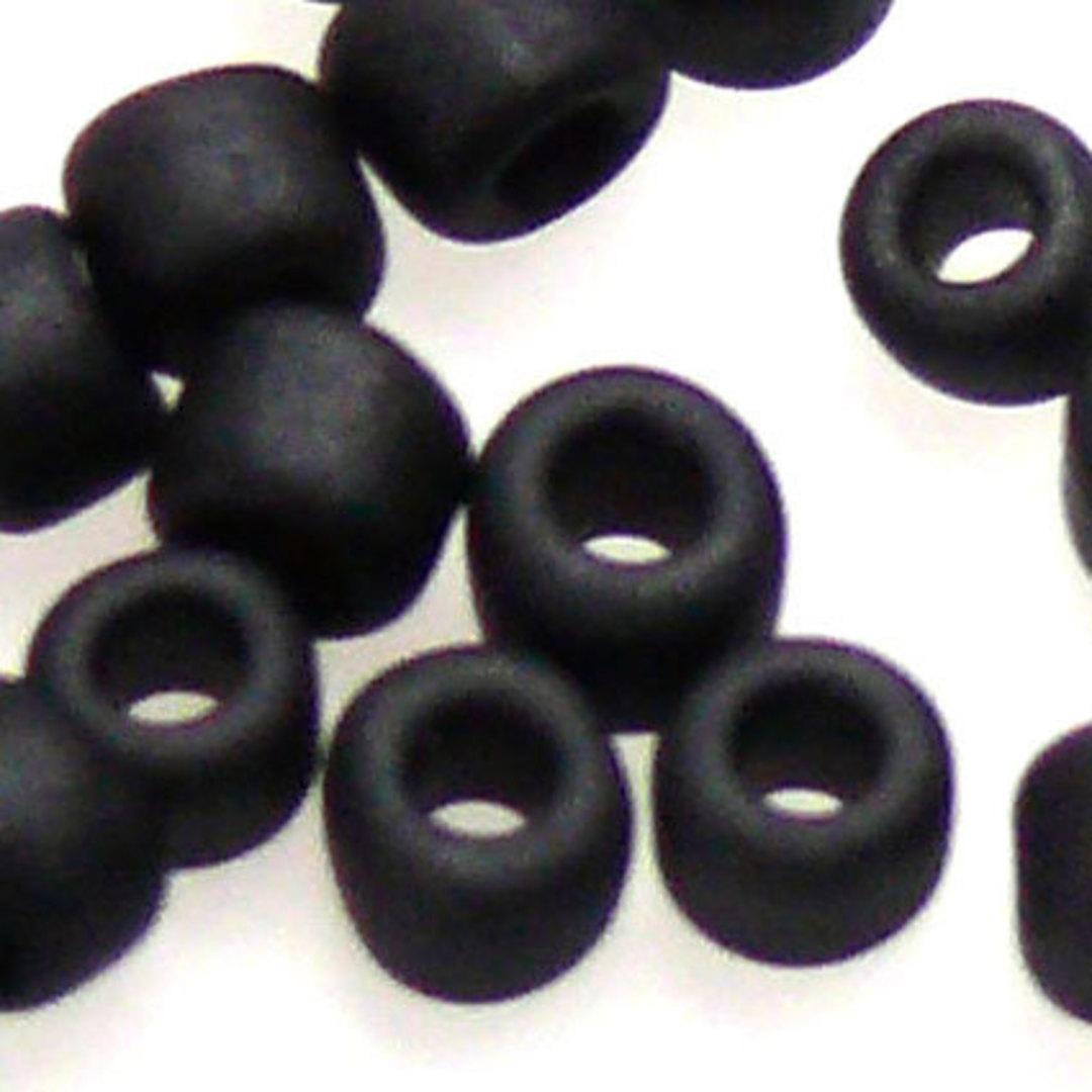 Miyuki size 8 round: F401 - Frosted Jet Black image 1