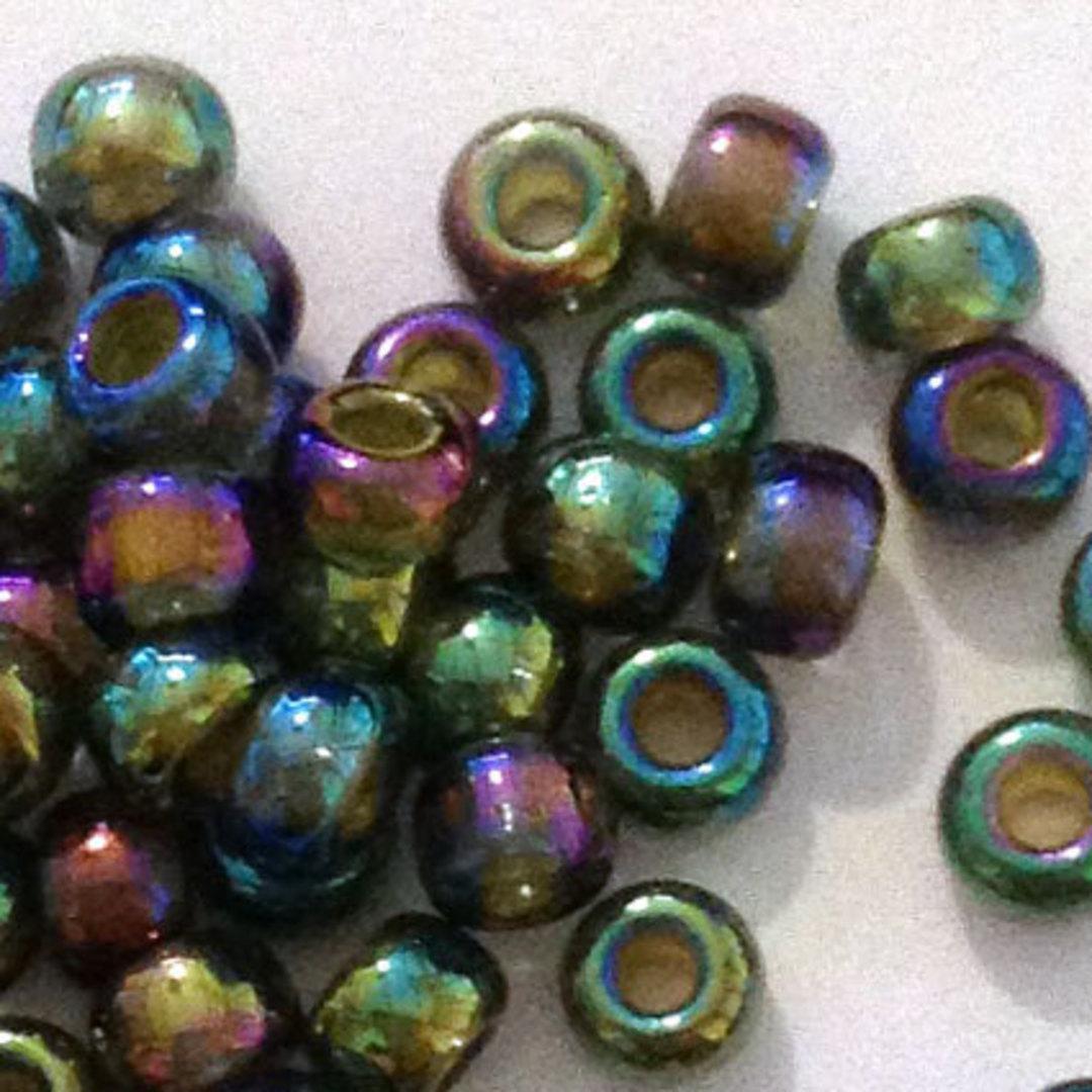 Miyuki size 8 round: 361 - Green Iris Shimmer, silver lined image 1