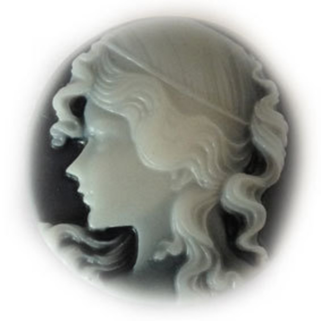 Cameo Cabochon: Black and white 30mm round, Greek style female head image 0