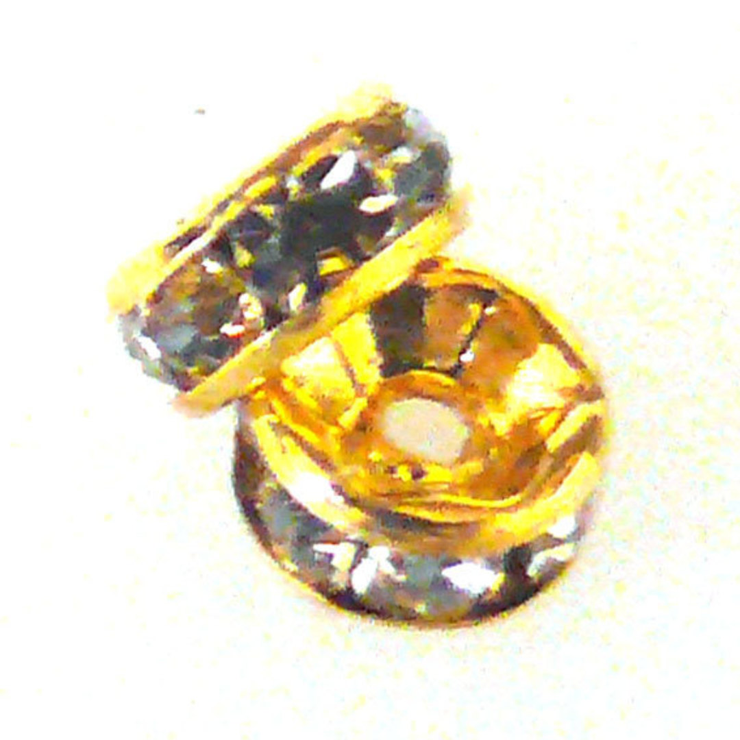 Metal Spacer: 6mm rhondelle, gold with crystal coloured stones image 0