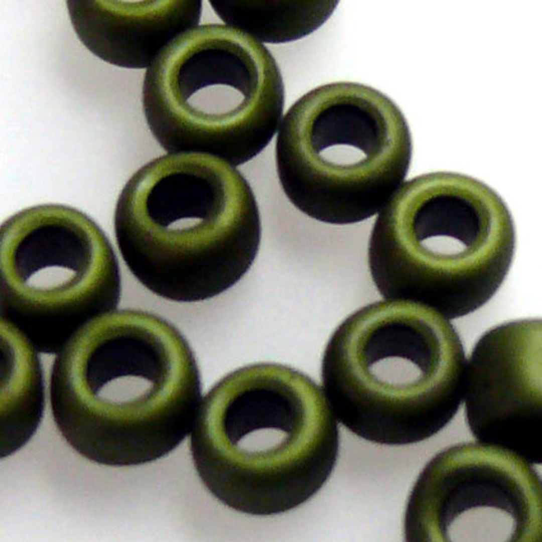 Toho size 6 round: F458 - Frosted Olive Green image 1