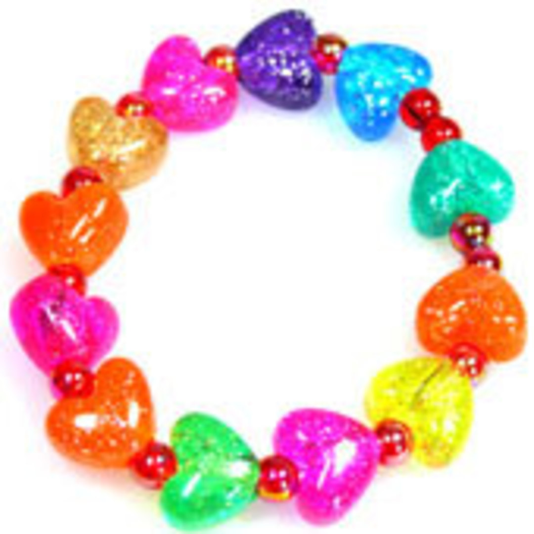 CLEARANCE: Kids Party Pack - sparkly acrylic HEARTS.  8 - 10 children image 0