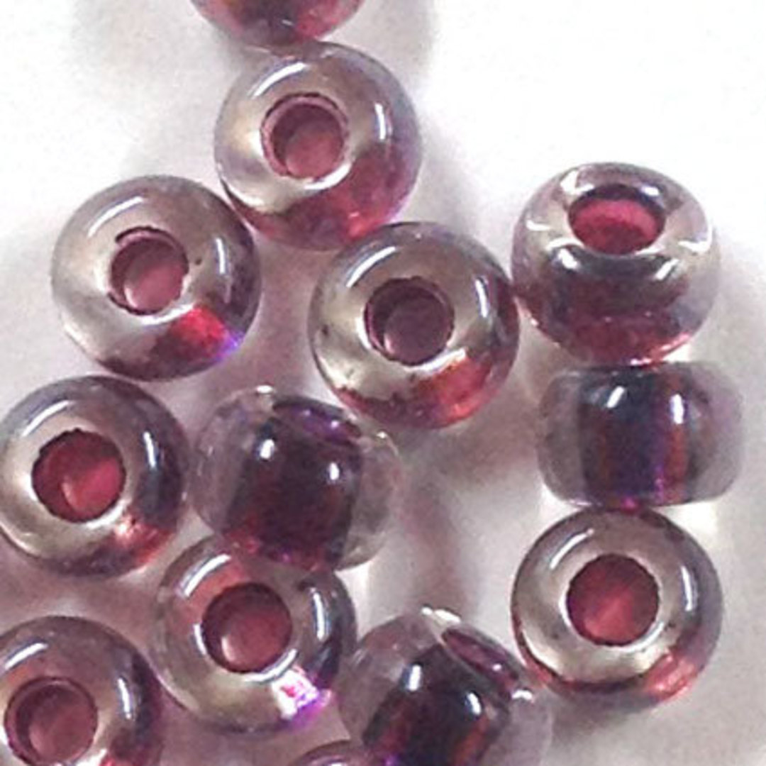 Miyuki size 6 round: 757 - Transparent, Purple/Maroon colour lined image 1
