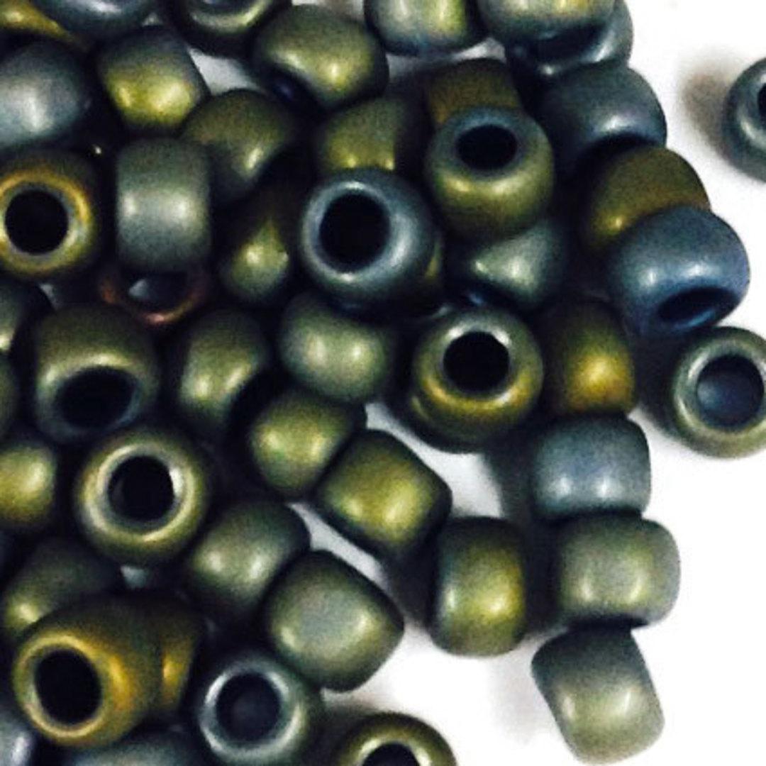 Toho size 8 round: F451A - Frosted Olive Grey image 1
