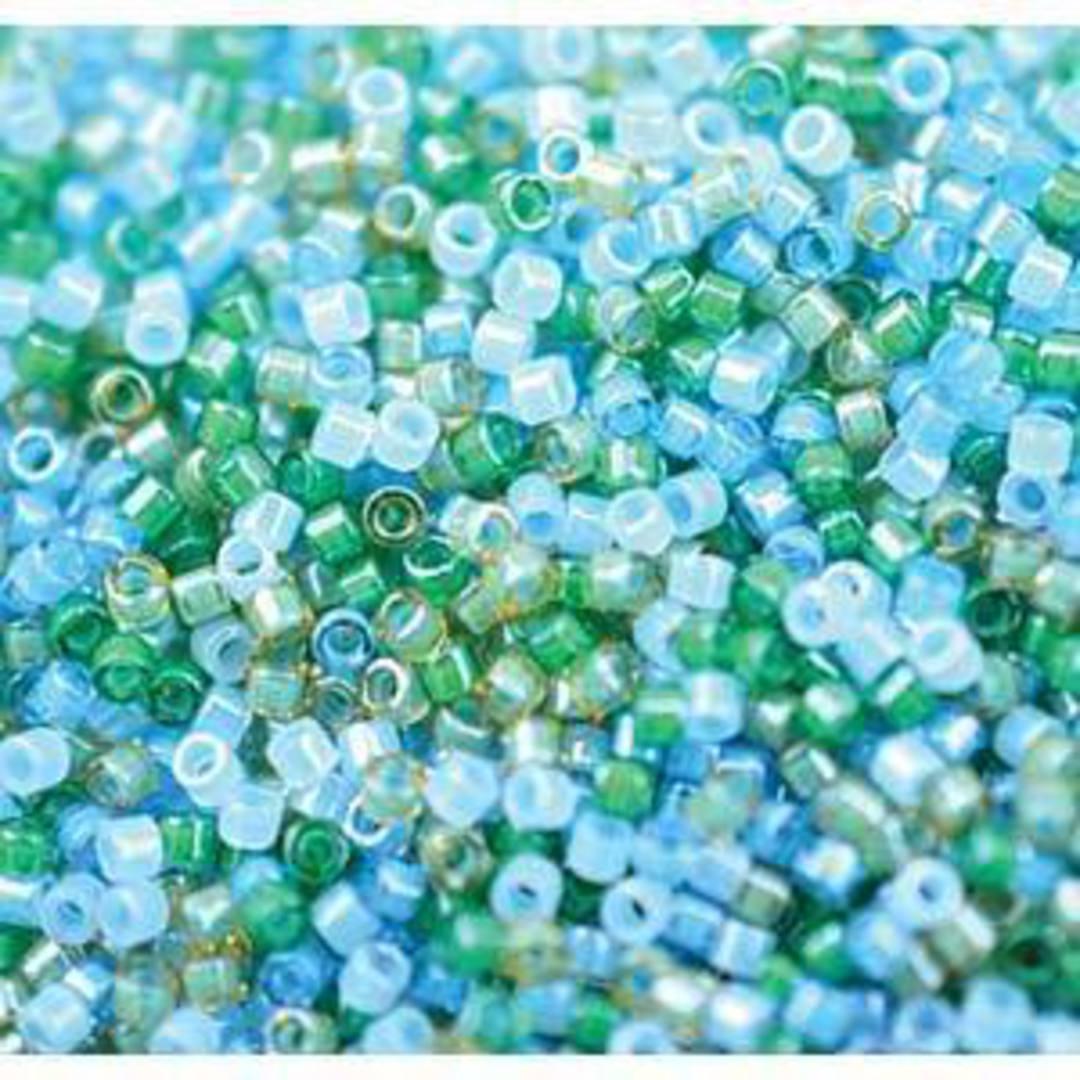 11/0 Miyuki Delica, Luminous MIX 7 - aquas and greens image 0