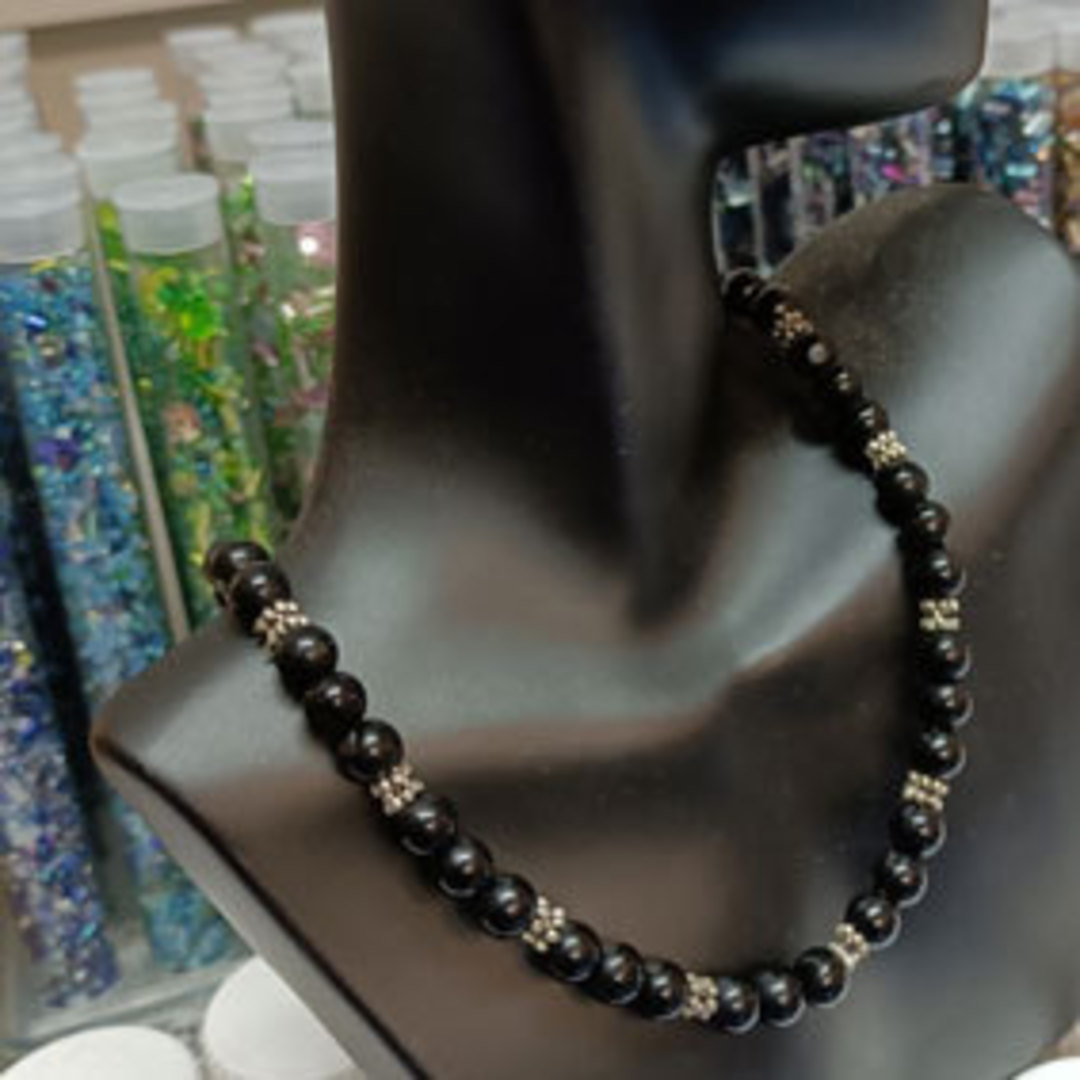 SAMPLE PIECE: Semi Precious Necklace - Black Jade (dyed) image 0