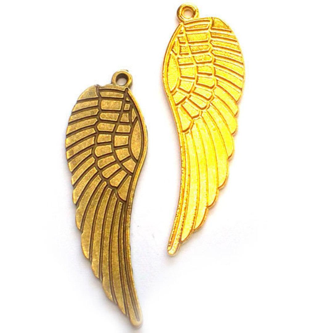 Metal Charm: Large wing - gold image 0