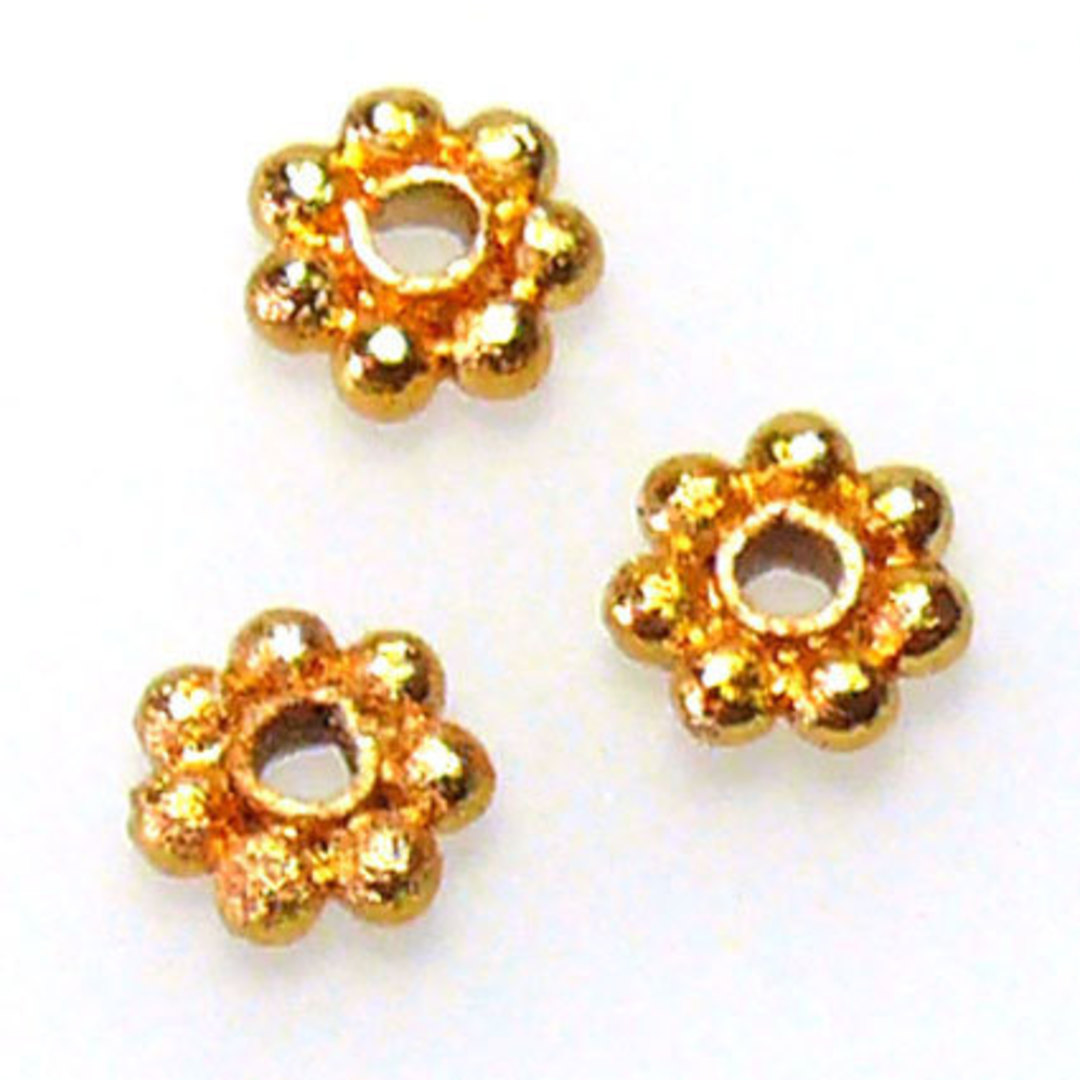 Metal spacer - 5mm daisy - gold image 0