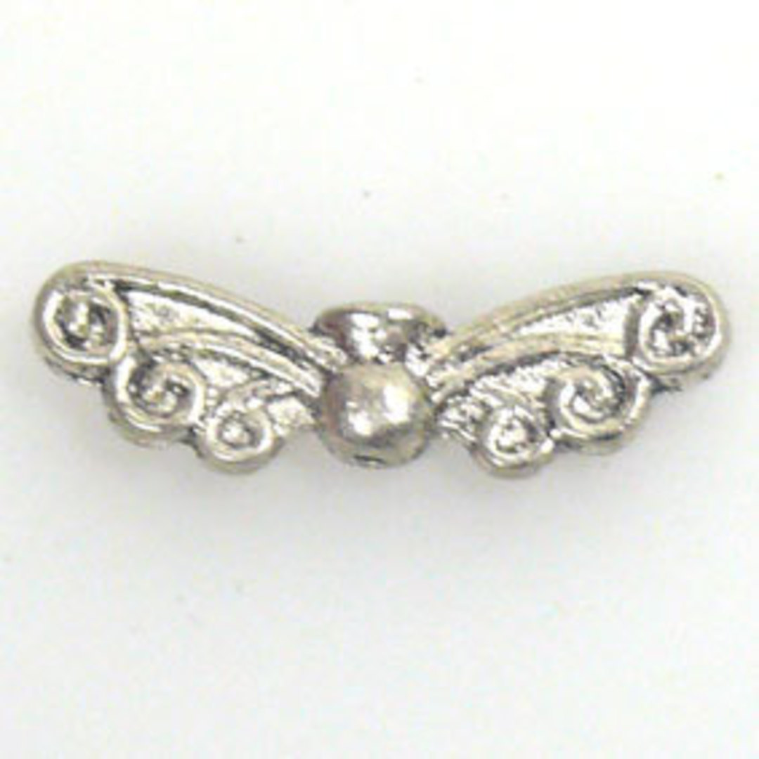 Metal Charm: Wing Bead with curl design - antique silver image 0