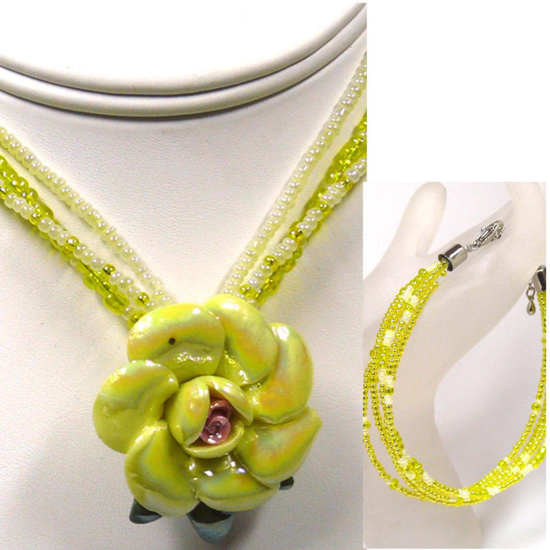 CLEARANCE KITSET: Rose necklace and  bracelet - Yellow image 0