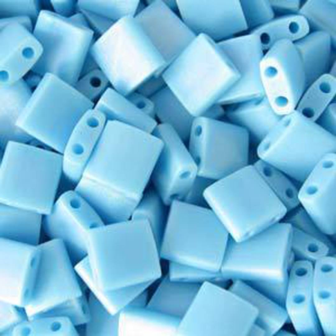 Tila Bead, 5mm, Matte Opaque Turquoise image 0