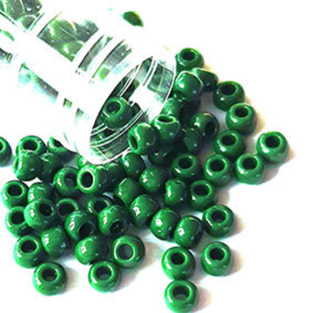 Toho size 6 round: 411B - Opaque Dark Pea Green image 0