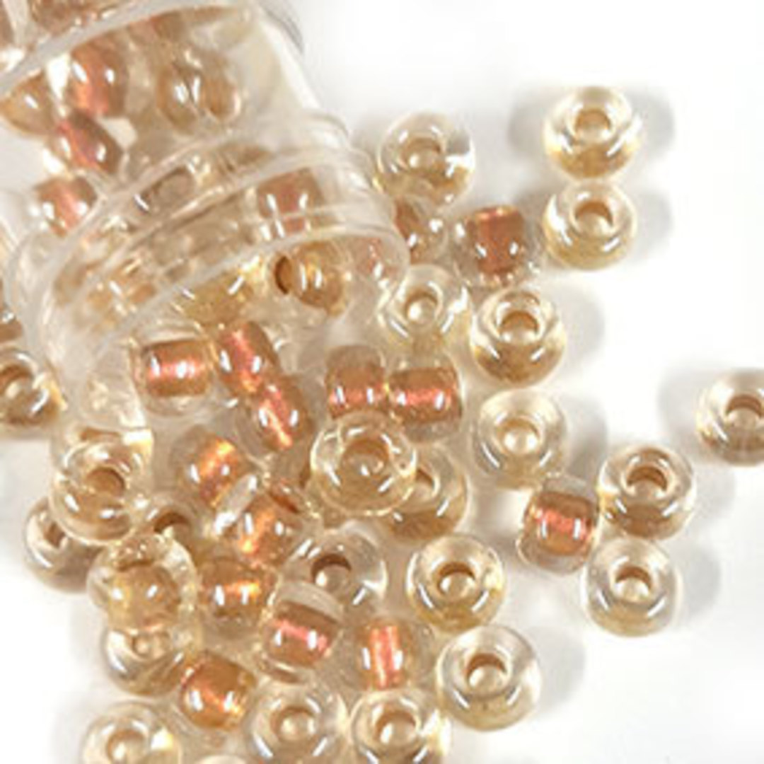 Miyuki size 6 round: 762 - Peachy/Gold, colour lined image 0