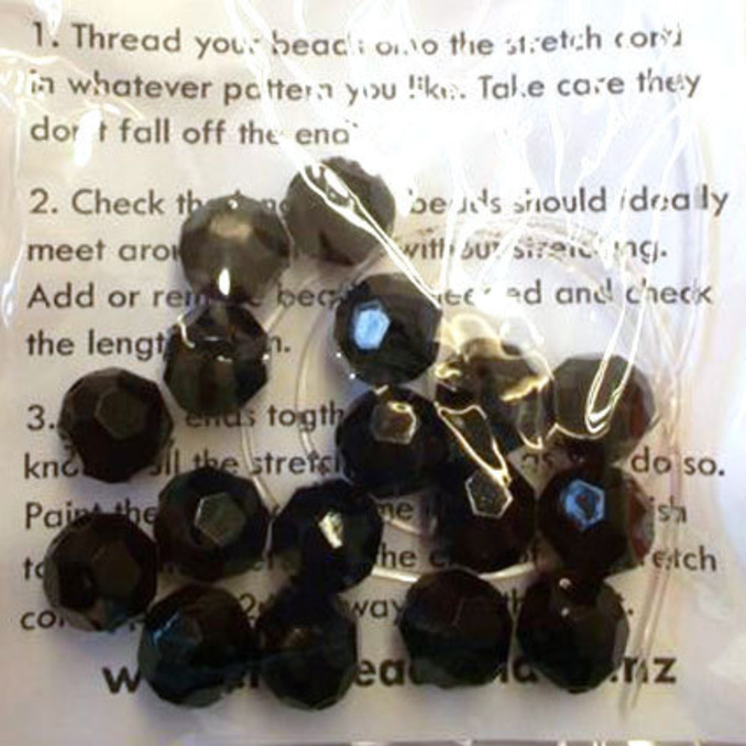 CLEARANCE KITSET: stretch bracelet - 10mm black acrylic facets image 0